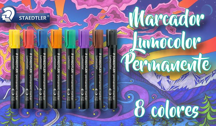 marcador lumocolor permanente 8 colores